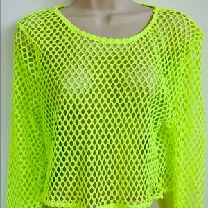 New 3 PC Swim Suit Cover Up Set Neon Yellow S/M